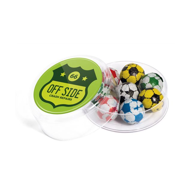 Maxi Round Pot – Chocolate Footballs